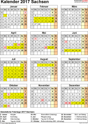 Vorlage 4: Kalender Sachsen 2017 als Excel-Vorlage (Hochformat)