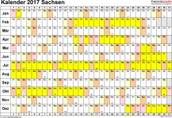 Vorlage 3: Kalender Sachsen 2017 im Querformat, Tage nebeneinander