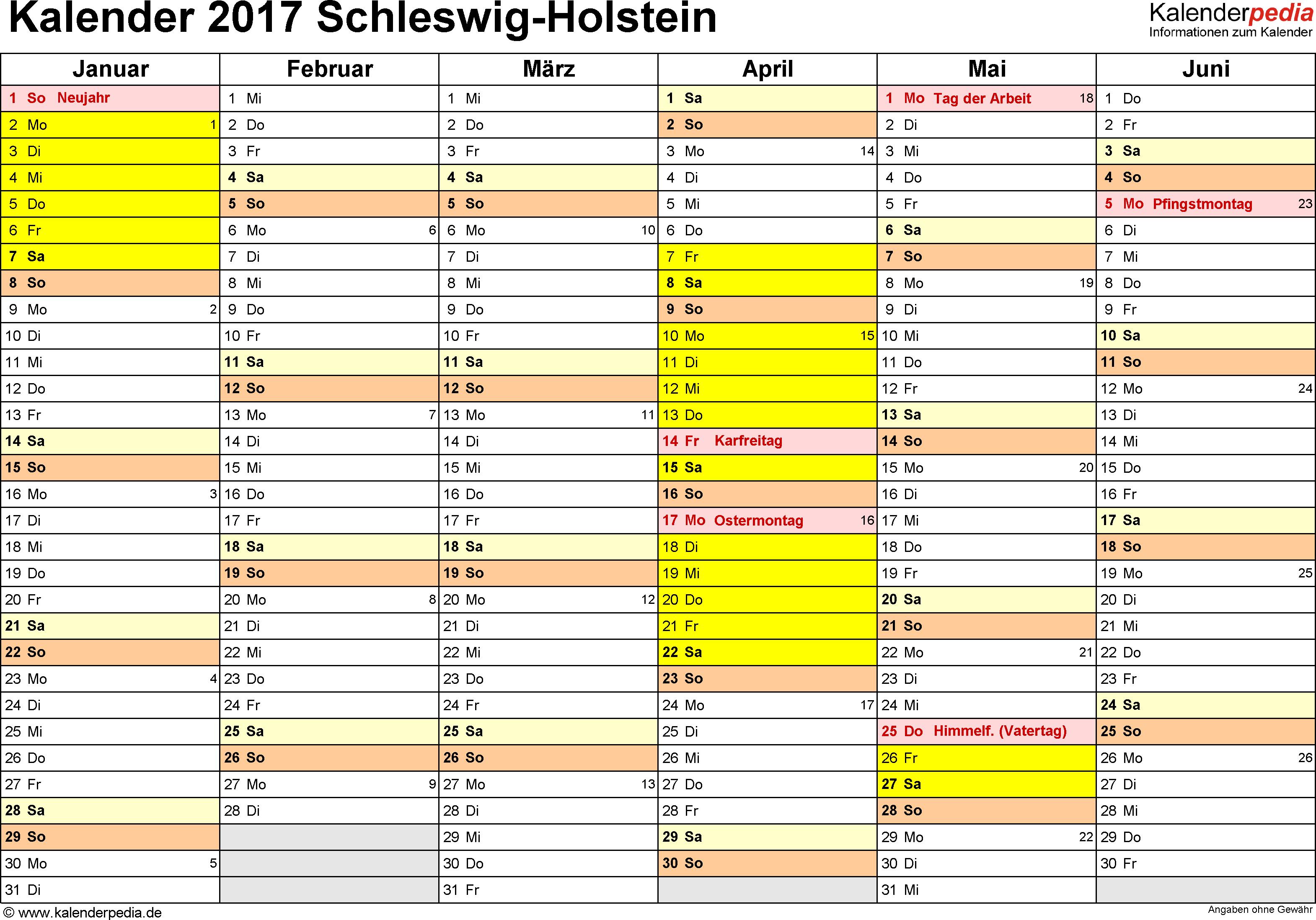 Vorlage 3: Kalender 2017 für Schleswig-Holstein als Excel-Vorlagen (Querformat, 2 Seiten)