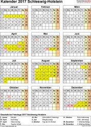 Vorlage 4: Kalender Schleswig-Holstein 2017 als PDF-Vorlage (Hochformat)