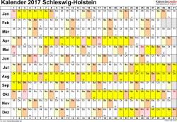 Vorlage 3: Kalender Schleswig-Holstein 2017 im Querformat, Tage nebeneinander