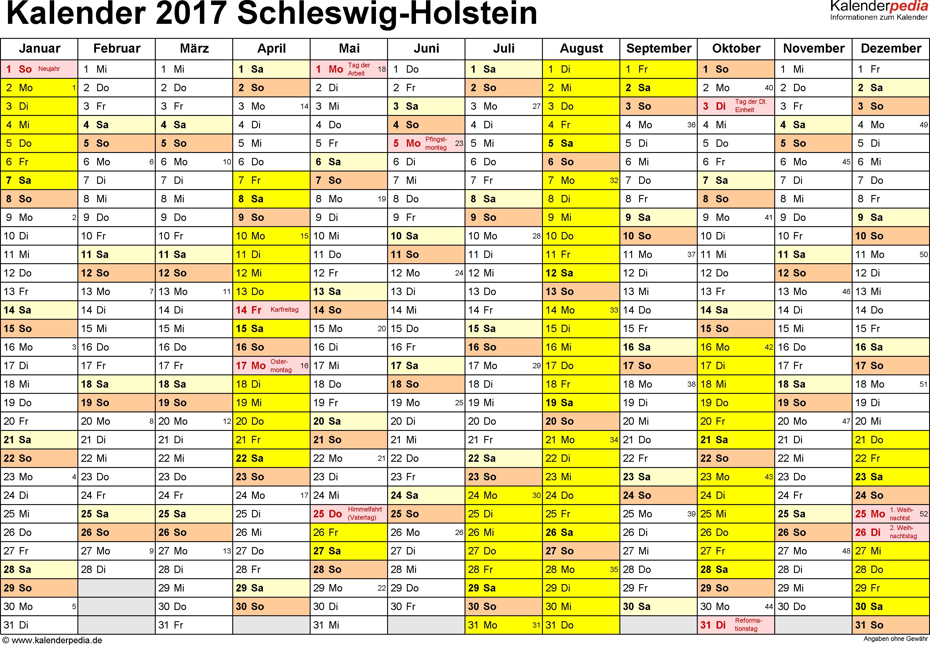 Vorlage 1: Kalender 2017 für Schleswig-Holstein als PDF-Vorlage (Querformat, 1 Seite)
