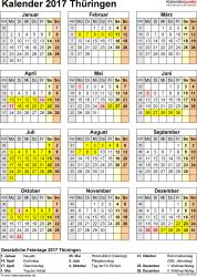 Vorlage 4: Kalender Thüringen 2017 als PDF-Vorlage (Hochformat)