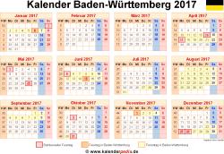 Kalender 2017 Baden-Württemberg
