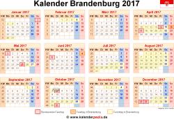 Kalender 2017 Brandenburg