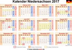 Kalender 2017 Niedersachsen