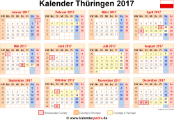 Kalender 2017 Thüringen
