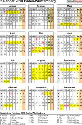 Vorlage 4: Kalender Baden-Württemberg 2018 als Excel-Vorlage (Hochformat)
