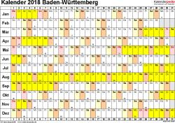 Vorlage 2: Kalender Baden-Württemberg 2018 im Querformat, Tage nebeneinander