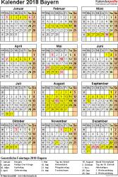 Vorlage 4: Kalender Bayern 2018 als Excel-Vorlage (Hochformat)
