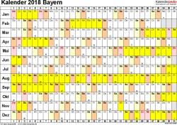 Vorlage 2: Kalender Bayern 2018 im Querformat, Tage nebeneinander