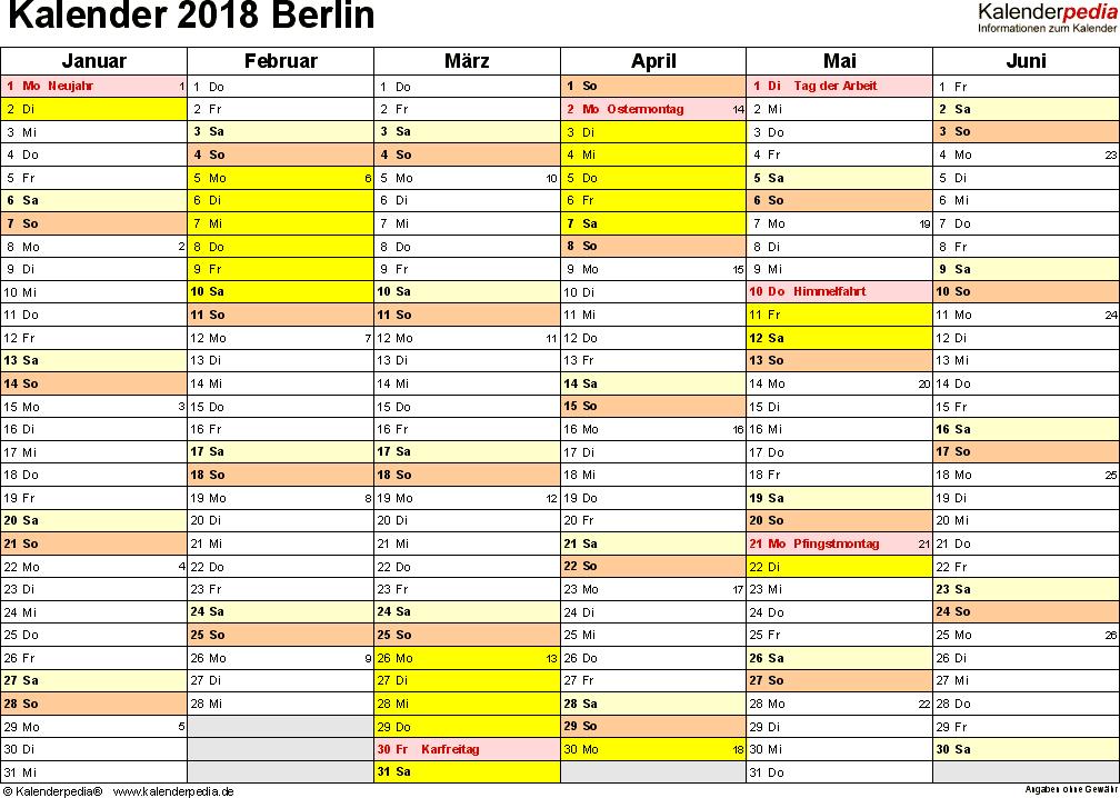 Vorlage 2: Kalender 2018 für Berlin als Excel-Vorlage (Querformat, 2 Seiten)