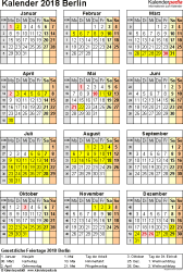 Vorlage 4: Kalender Berlin 2018 als Excel-Vorlage (Hochformat)