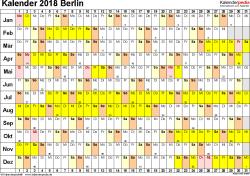 Vorlage 3: Kalender Berlin 2018 im Querformat, Tage nebeneinander
