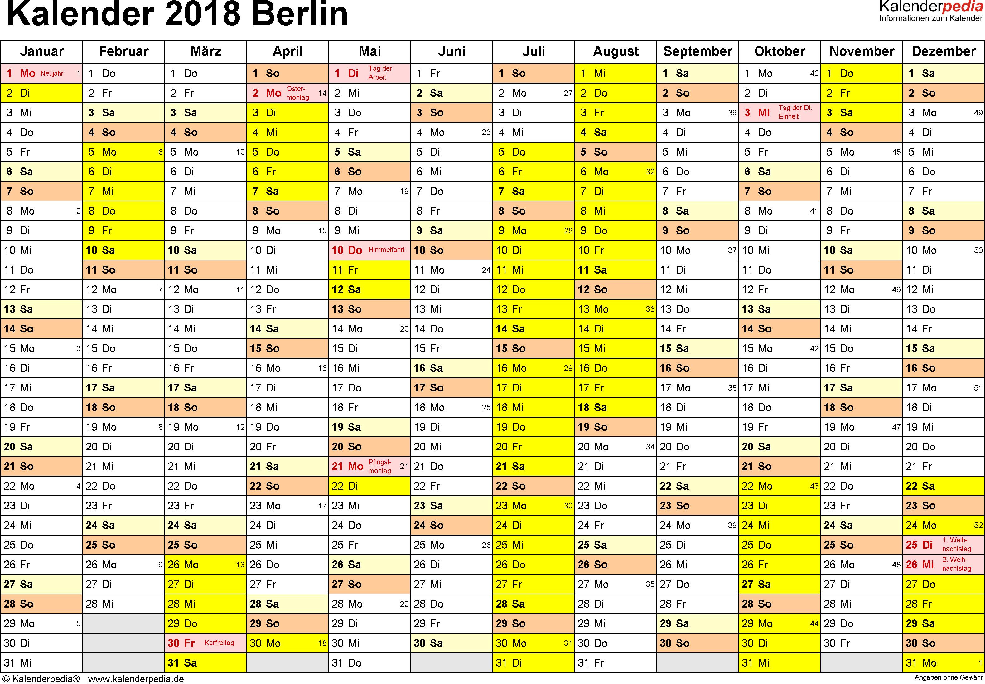 Vorlage 1: Kalender 2018 für Berlin als Excel-Vorlage (Querformat, 1 Seite)