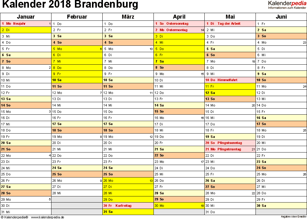 Vorlage 2: Kalender 2018 für Brandenburg als Word-Vorlage (Querformat, 2 Seiten)