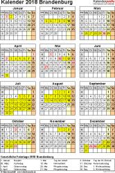 Vorlage 4: Kalender Brandenburg 2018 als Excel-Vorlage (Hochformat)