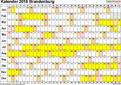Vorlage 3: Kalender Brandenburg 2018 im Querformat, Tage nebeneinander