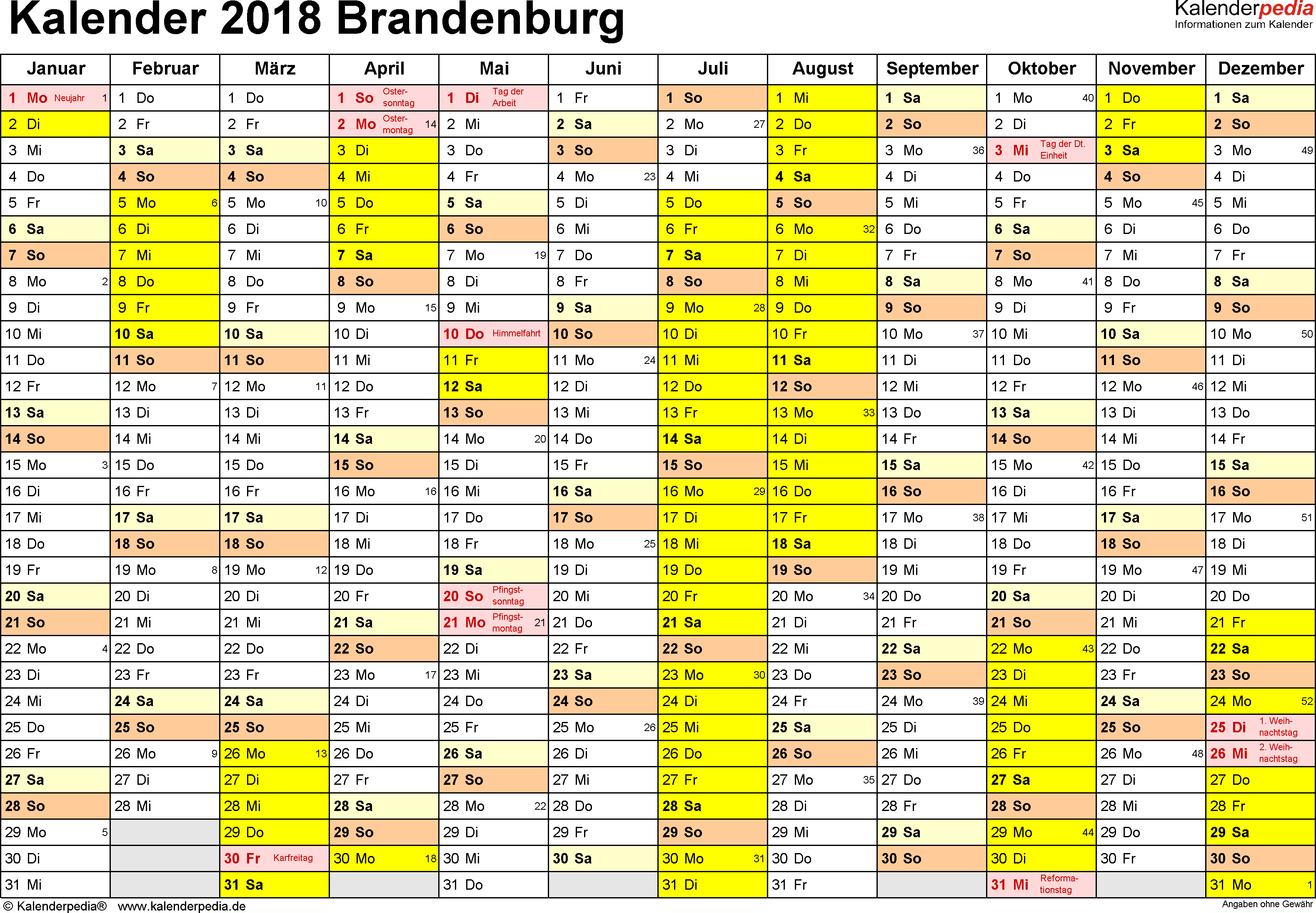 Vorlage 1: Kalender 2018 für Brandenburg als Excel-Vorlagen (Querformat, 1 Seite)