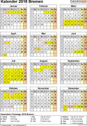 Vorlage 4: Kalender Bremen 2018 als Excel-Vorlage (Hochformat)