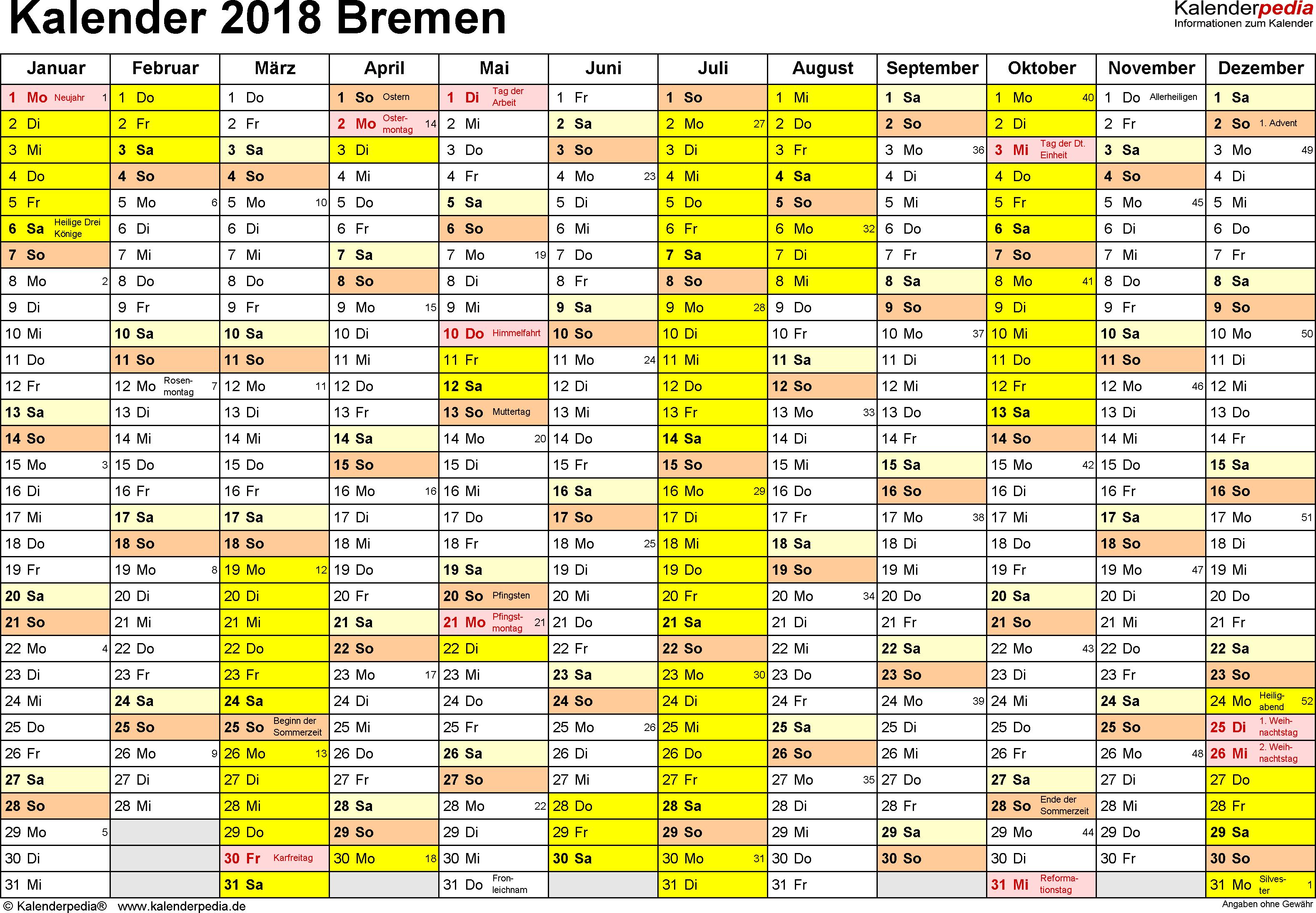 Vorlage 1: Kalender 2018 für Bremen als Word-Vorlage (Querformat, 1 Seite)