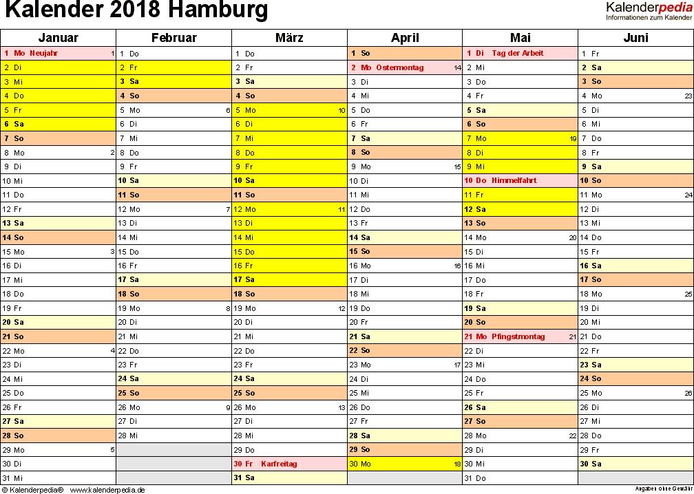Vorlage 2: Kalender 2018 für Hamburg als Excel-Vorlage (Querformat, 2 Seiten)