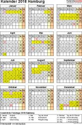 Vorlage 4: Kalender Hamburg 2018 als Excel-Vorlage (Hochformat)