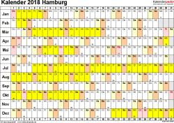 Vorlage 3: Kalender Hamburg 2018 im Querformat, Tage nebeneinander