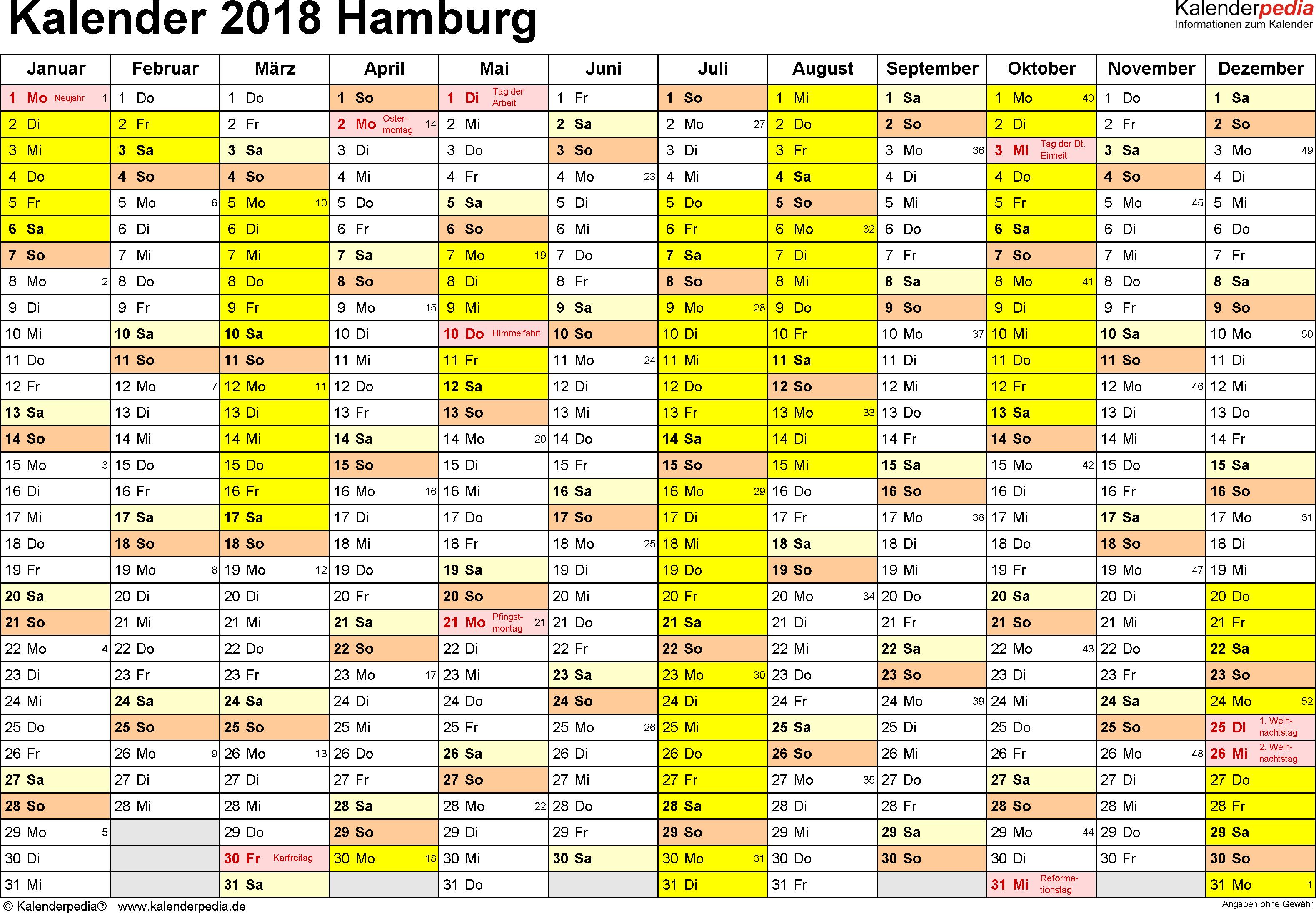 Vorlage 1: Kalender 2018 für Hamburg als Excel-Vorlage (Querformat, 1 Seite)