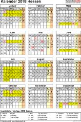 Vorlage 4: Kalender Hessen 2018 als PDF-Vorlage (Hochformat)
