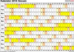 Vorlage 2: Kalender Hessen 2018 im Querformat, Tage nebeneinander