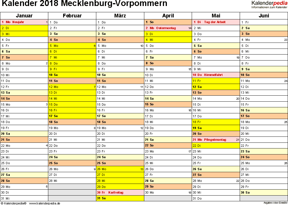 Vorlage 3: Kalender 2018 für Mecklenburg-Vorpommern als Excel-Vorlagen (Querformat, 2 Seiten)