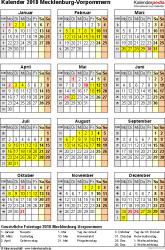 Vorlage 4: Kalender Mecklenburg-Vorpommern 2018 als Excel-Vorlage (Hochformat)