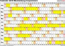 Vorlage 2: Kalender Mecklenburg-Vorpommern 2018 im Querformat, Tage nebeneinander