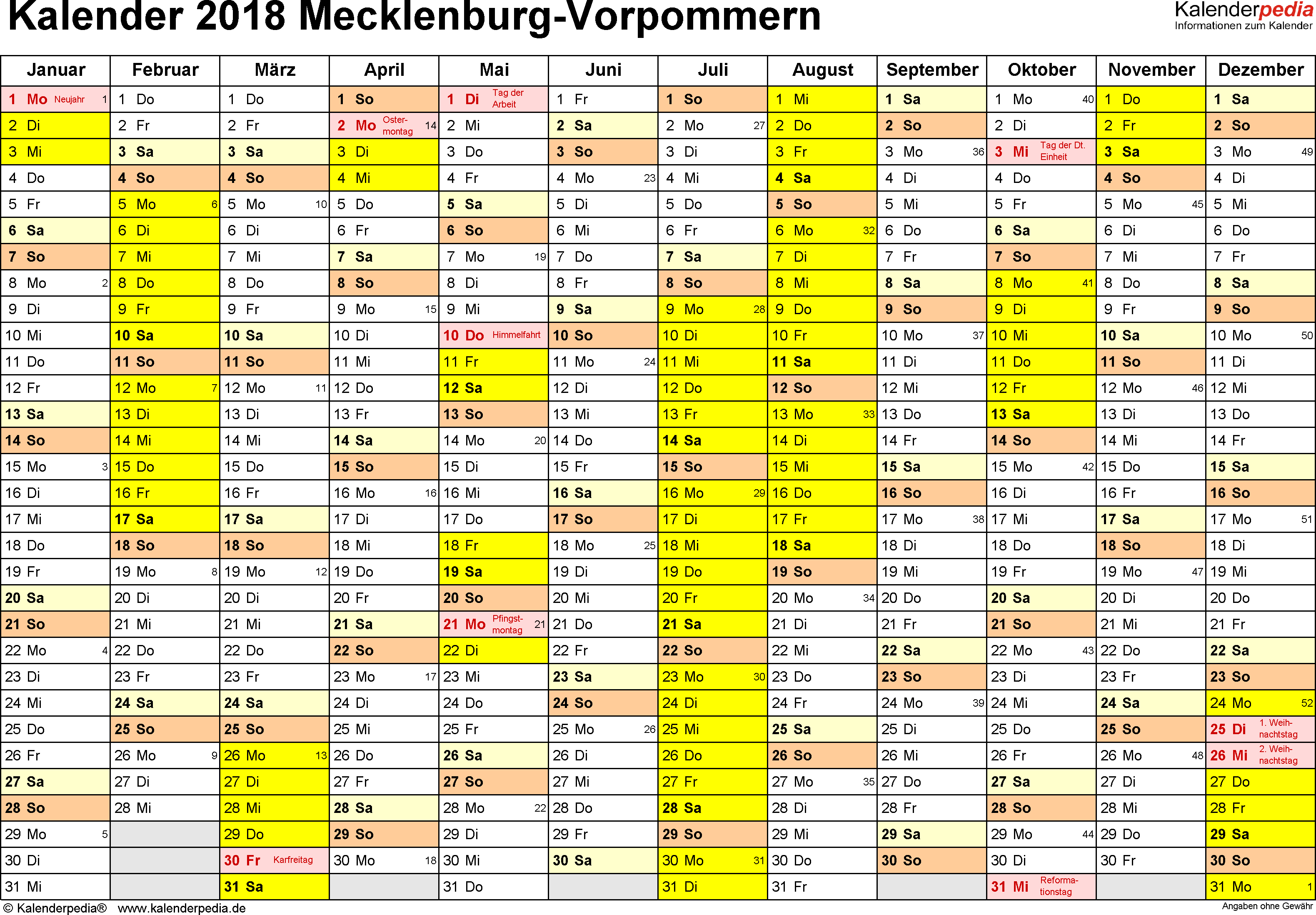 Vorlage 1: Kalender 2018 für Mecklenburg-Vorpommern als Word-Vorlage (Querformat, 1 Seite)