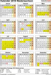 Vorlage 4: Kalender Niedersachsen 2018 als Excel-Vorlage (Hochformat)