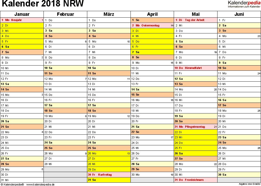 Vorlage 3: Kalender 2018 für NRW als Excel-Vorlagen (Querformat, 2 Seiten)