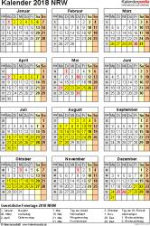 Vorlage 4: Kalender Nordrhein-Westfalen (NRW) 2018 als PDF-Vorlage (Hochformat)