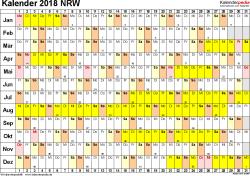 Vorlage 3: Kalender Nordrhein-Westfalen (NRW) 2018 im Querformat, Tage nebeneinander