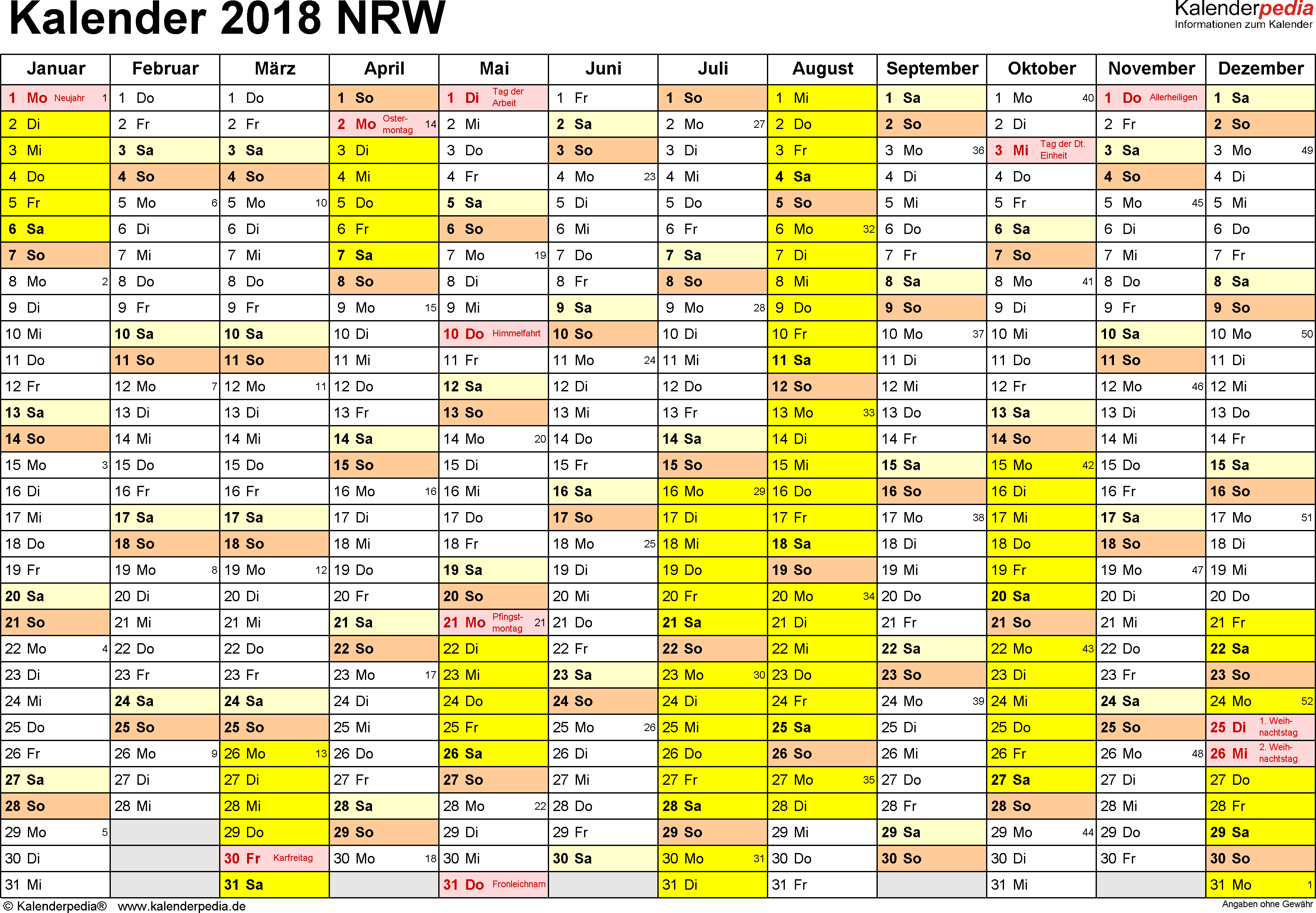 Vorlage 1: Kalender 2018 für Nordrhein-Westfalen (NRW) als PDF-Vorlage (Querformat, 1 Seite)