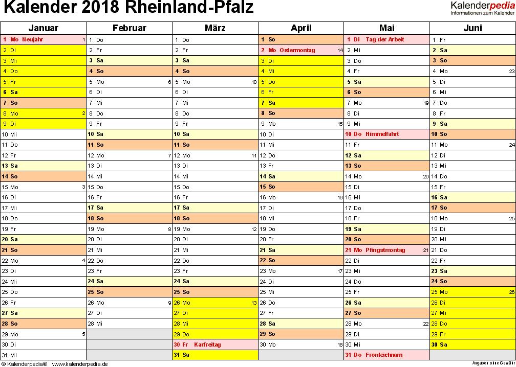 Vorlage 2: Kalender 2018 für Rheinland-Pfalz als Excel-Vorlage (Querformat, 2 Seiten)