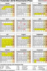 Vorlage 4: Kalender Rheinland-Pfalz 2018 als Excel-Vorlage (Hochformat)