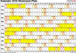 Vorlage 3: Kalender Rheinland-Pfalz 2018 im Querformat, Tage nebeneinander