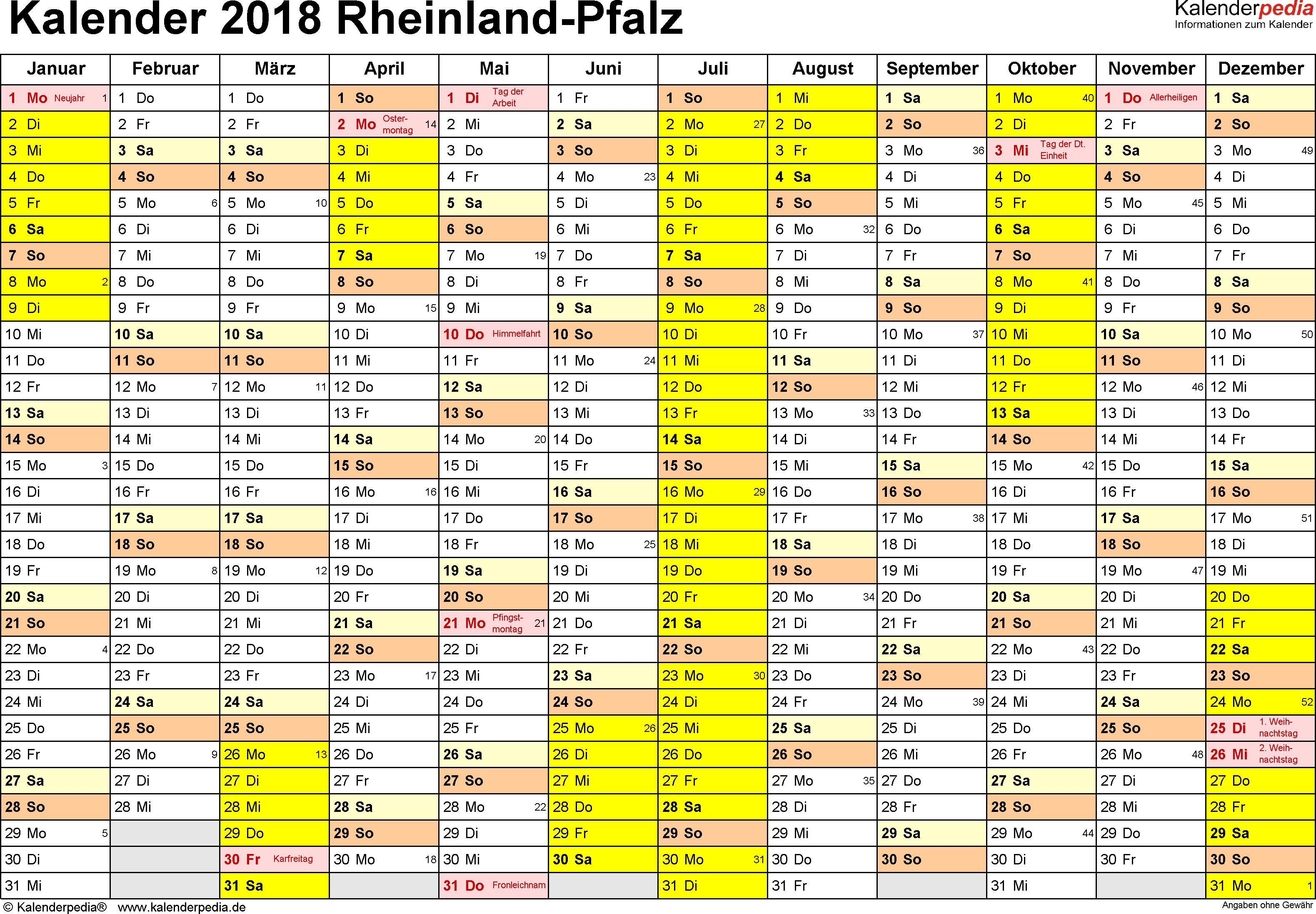 Vorlage 1: Kalender 2018 für Rheinland-Pfalz als Excel-Vorlage (Querformat, 1 Seite)