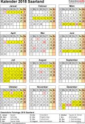 Vorlage 4: Kalender Saarland 2018 als Excel-Vorlage (Hochformat)