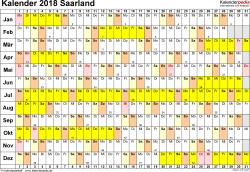 Vorlage 2: Kalender Saarland 2018 im Querformat, Tage nebeneinander