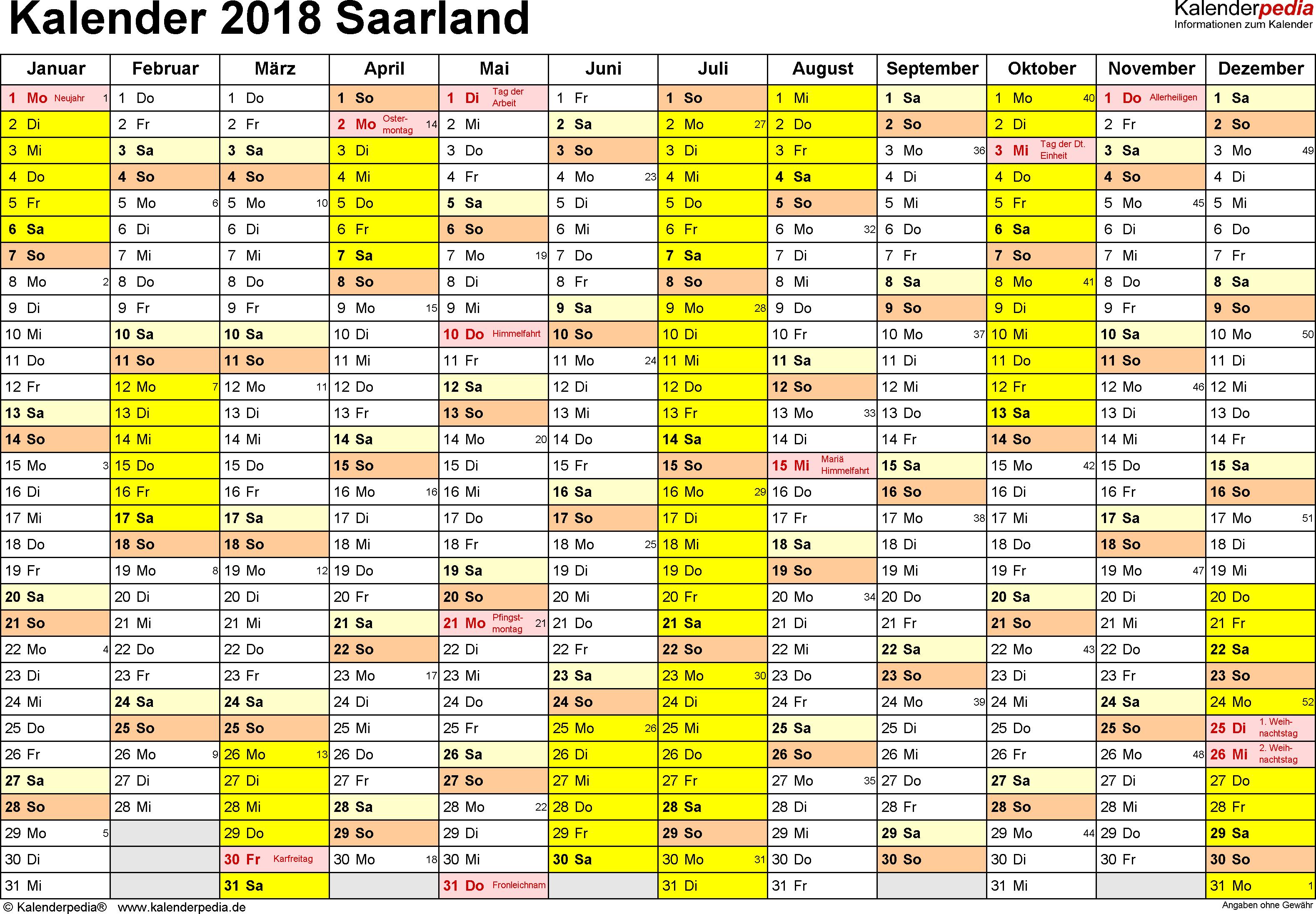 Vorlage 1: Kalender 2018 für Saarland als Word-Vorlagen (Querformat, 1 Seite)