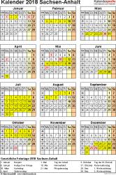 Vorlage 4: Kalender Sachsen-Anhalt 2018 als Excel-Vorlage (Hochformat)