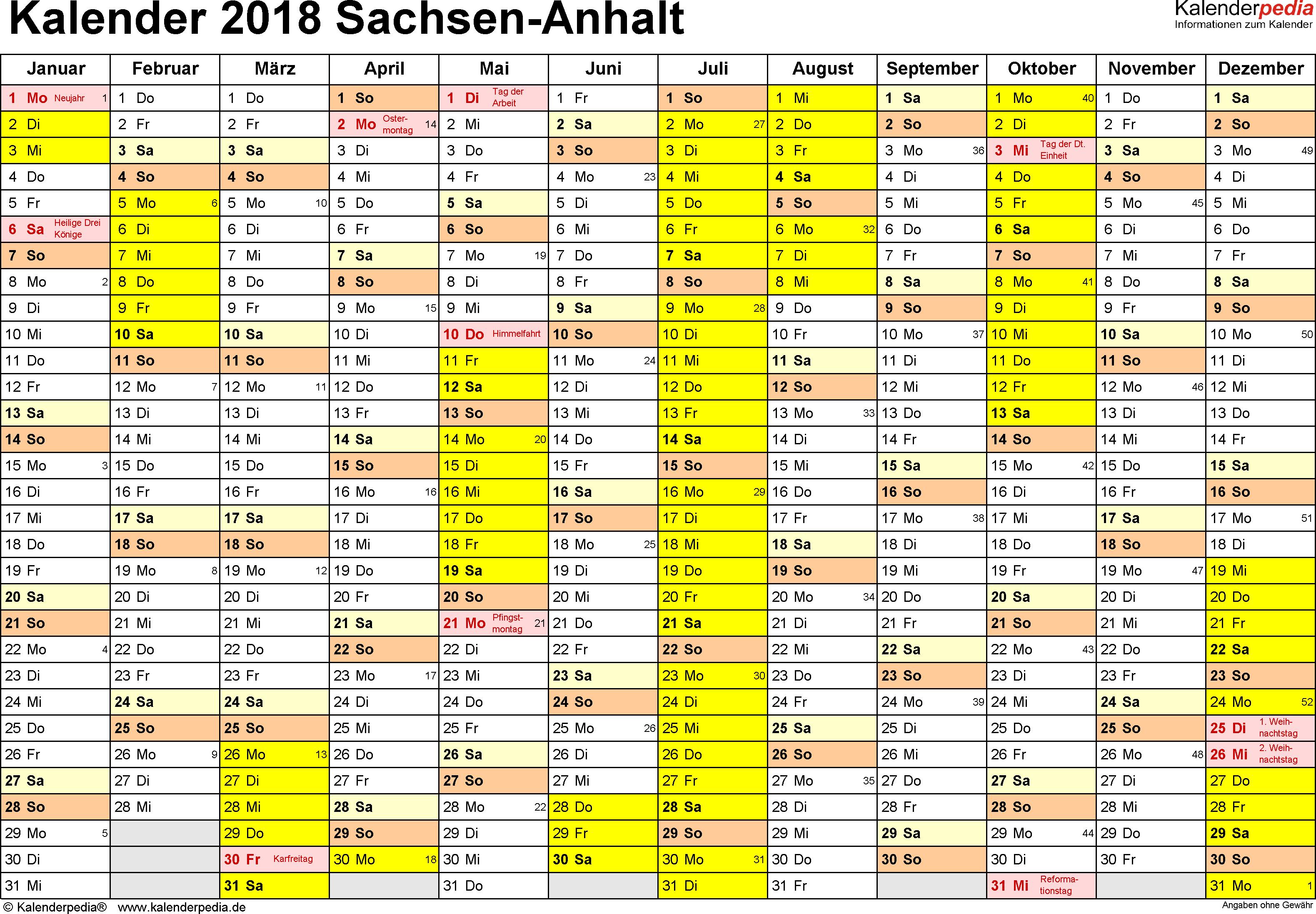 Vorlage 1: Kalender 2018 für Sachsen-Anhalt als Excel-Vorlage (Querformat, 1 Seite)