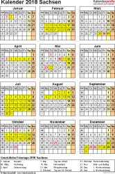 Vorlage 4: Kalender Sachsen 2018 als Excel-Vorlage (Hochformat)